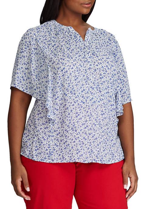 Chaps Plus Size Short Flutter Sleeve Blouse