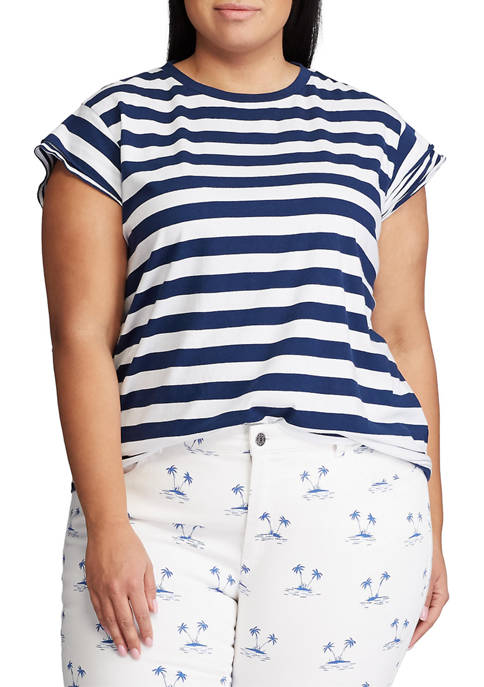 Chaps Plus Size Flutter Sleeve Knit T-Shirt