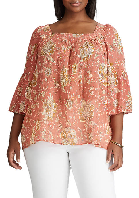 Chaps Plus Size 3/4 Bell-Sleeve Top