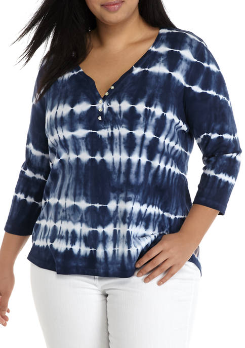 Chaps Plus Size 3/4 Sleeve Henley Knit Top