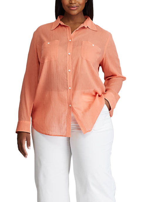 Plus Size Lightweight Cotton Utility Shirt
