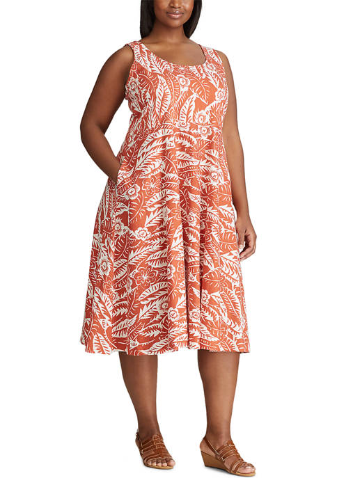 Chaps Plus Size Sleeveless Cotton Sundress