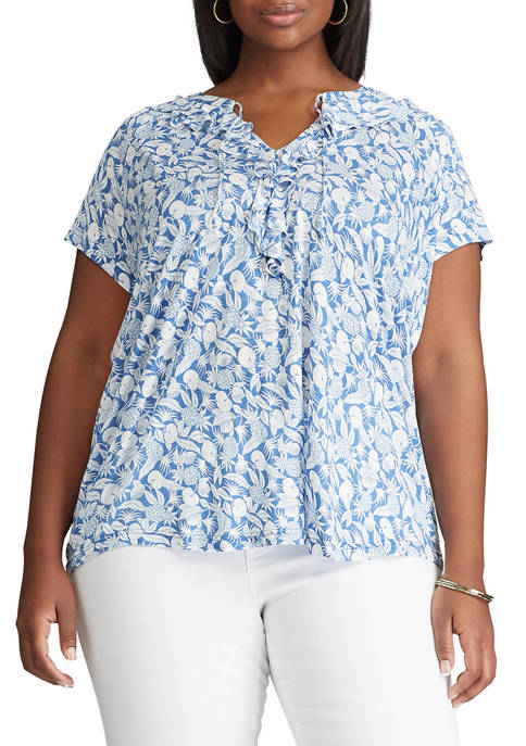Chaps Plus Size Short Sleeve Ruffle Knit Top