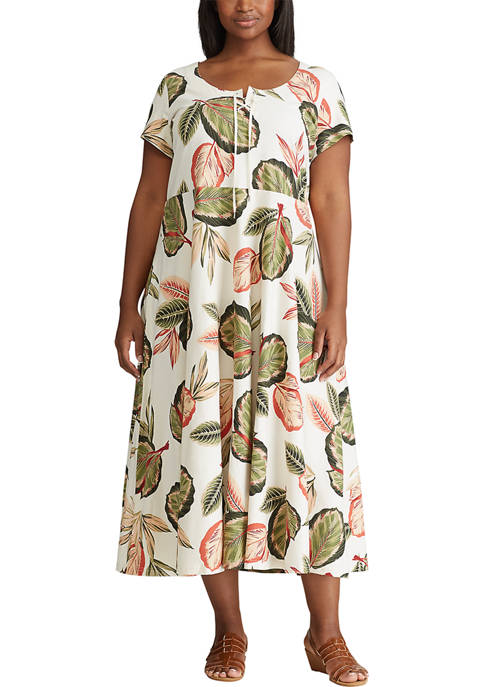 Chaps Plus Size Floral Fit and Flare Dress