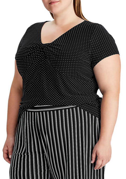 Chaps Plus Size Twist Front Jersey Top