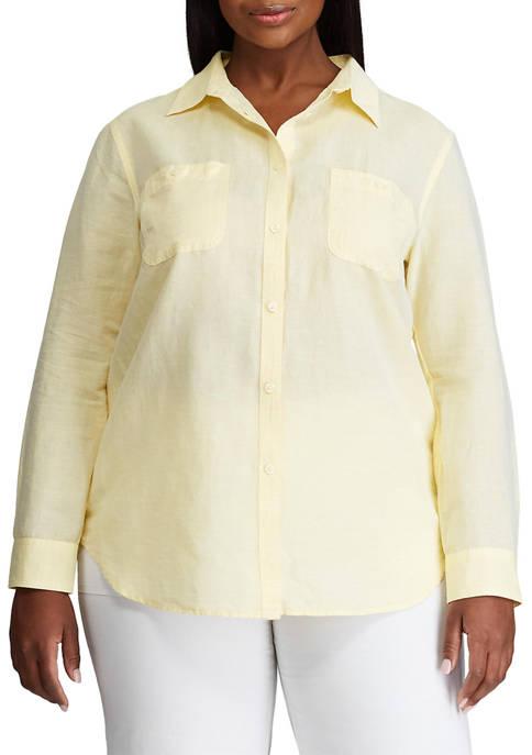 Chaps Plus Size Utility Pocket Linen Shirt