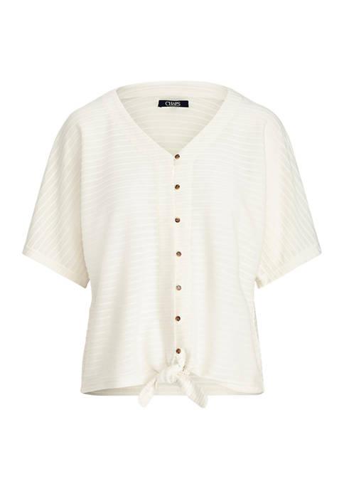Chaps Plus Size Dolman Sleeve Tie Front Knit