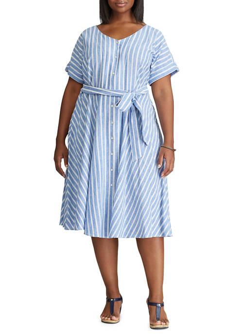 Chaps Plus Size Short Sleeve Linen Shirt Dress