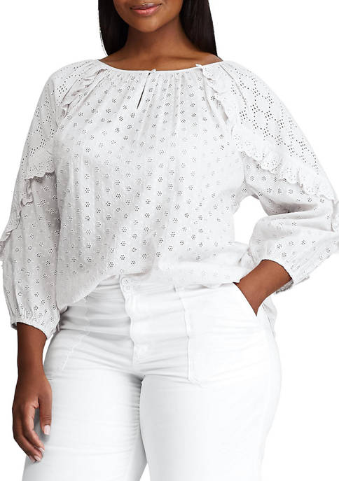 Chaps Plus Size Long Sleeve Eyelet Woven Blouse