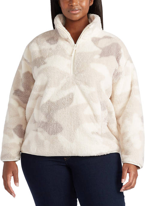 Chaps Plus Size Faux Shearling Mock Neck Pullover