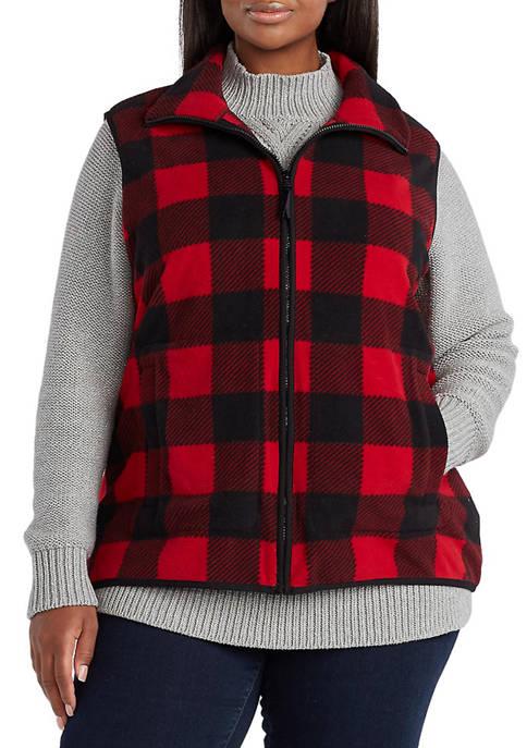 Chaps Plus Size Faux Shearling Mock Neck Vest