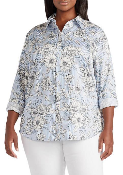 Chaps Plus Size Non-Iron Cotton Sateen Long Sleeve