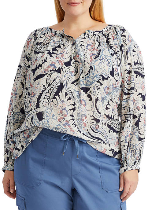 Chaps Plus Size Bishop Sleeve Top