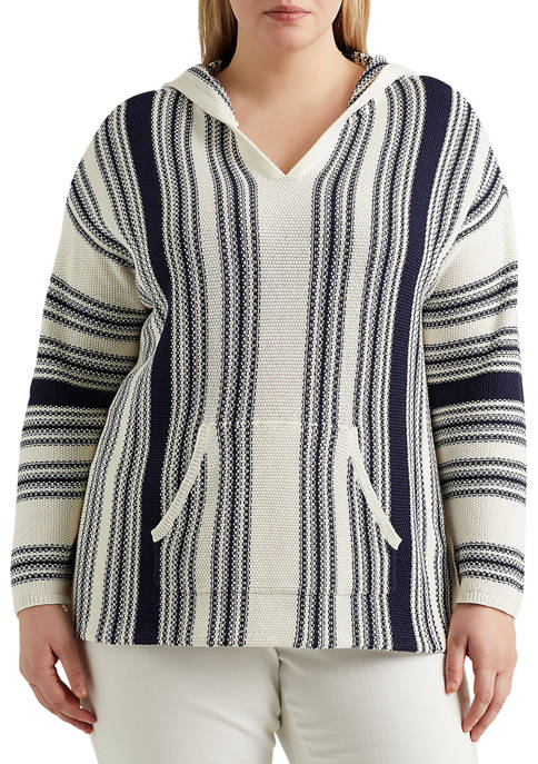 Chaps Plus Size Striped Hooded Sweater
