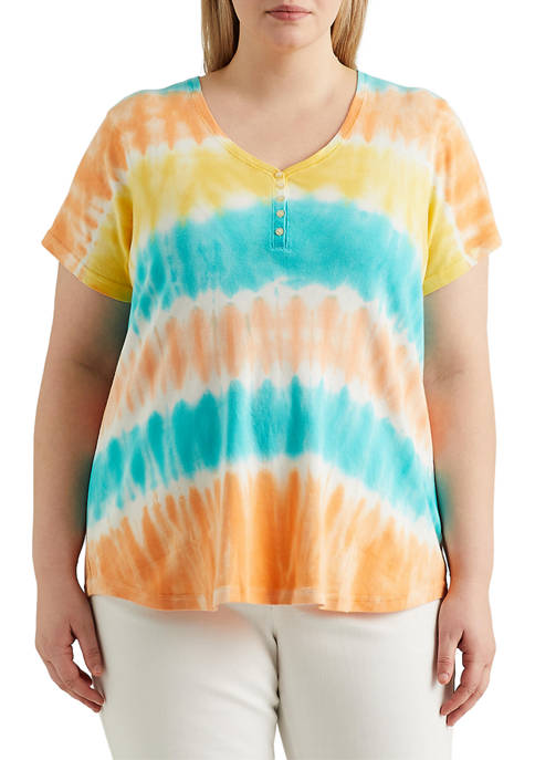 Chaps Plus Size Short Sleeve Cotton Rib Top