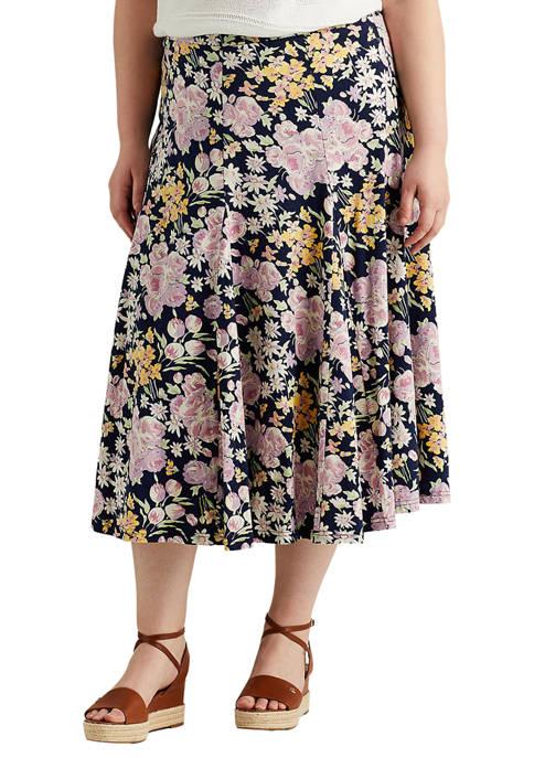 Chaps Plus Size Cotton A Line Skirt