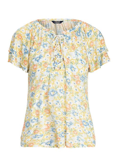 Plus Size Fluid Slub Short Sleeve Top