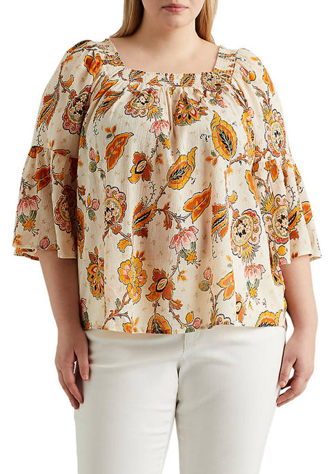 Chaps Plus Size Printed Bell Sleeve Top
