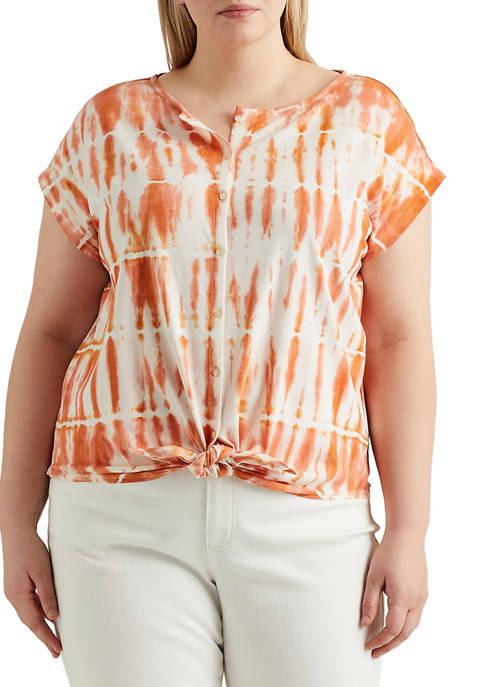 Chaps Plus Size Tie-Front Cotton-Blend Top