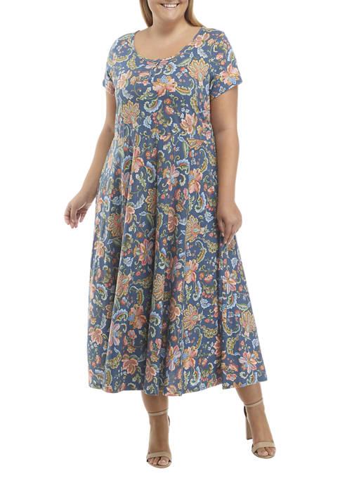 Chaps Plus Size Short Sleeve Scoop Neck Floral