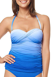 Bleu Rod Beattie Good Ombre Twist Front Bandeaukini Swim Top