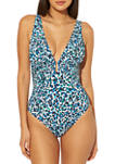 Animal Printed Molded One Piece Swimsuit