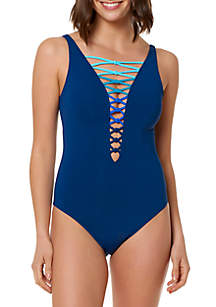 Let's Get Knotty Lace-Up Neck One-Piece Swimsuit
