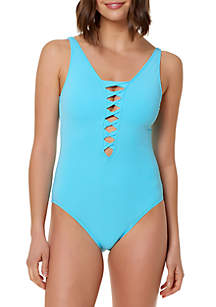 Twister Lace Down One Piece Swimsuit