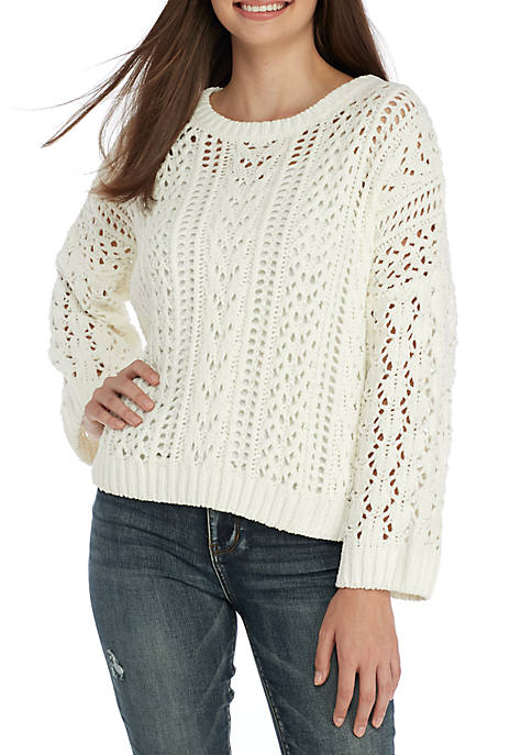 Open Stitch Cropped Sweater