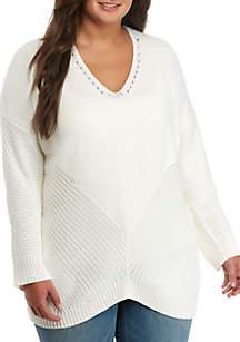 Plus Size V-Neck Tunic Sweater