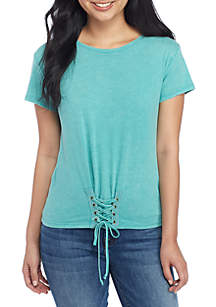 Short Sleeve Corset Knit Tee