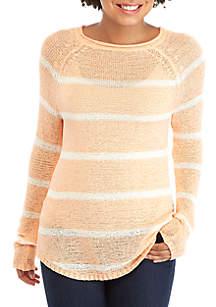 TRUE CRAFT Striped Round Neck Sweater