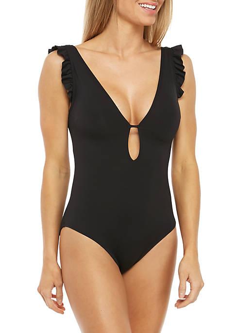 Ruffle Sleeve Plunge One Piece Swimsuit