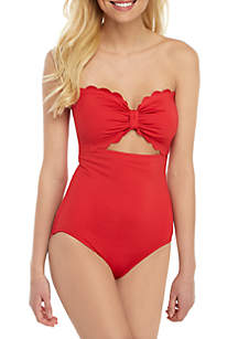 kate spade new york® Scallop Bandeau Cut-Out One Piece Swimsuit
