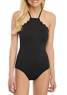 kate spade new york® Scalloped High Neck One Piece Swimsuit