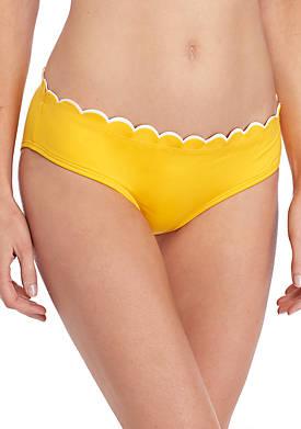Contrast Scalloped Hipster Bikini Swim Bottoms