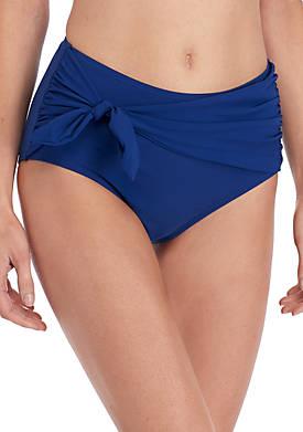 Tie High Waisted Bikini Swim Bottoms