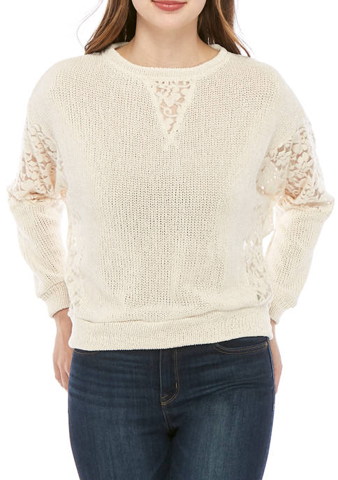 Juniors Chenille Sweater with Lace