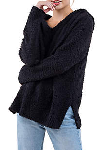 V-Neck Hooded Sweater