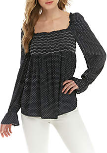 Taylor & Sage Long Sleeve Smocked Top