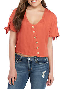 Taylor & Sage Short Sleeve Button Front Top