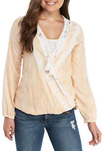 Taylor & Sage Long Sleeve Crochet Trim Stripe Top