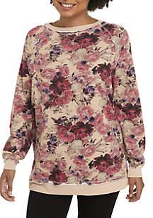 Long Sleeve Floral Printed Sweatshirt