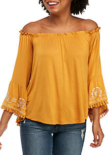 Three-Quarter Sleeve Off-the-Shoulder Embroidered Peasant Top
