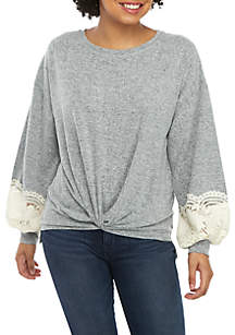 Long Lace Sleeve Hacci Twist Front Sweater