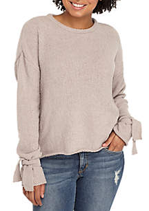 Fuzzy Tie Sleeve Sweater