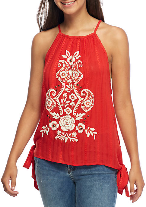 Taylor & Sage Side Tie Embroidered Tank