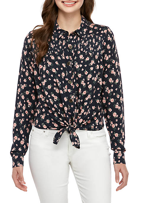 Long Sleeve Button Front Collared Shirt