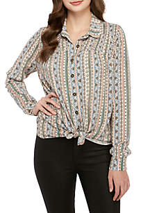 Taylor & Sage Long Sleeve Button Front Collared Shirt with Smocking