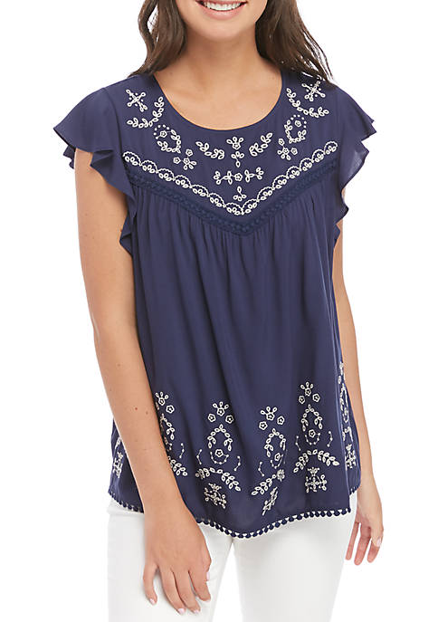 Short Sleeve Embroidered Woven Blouse